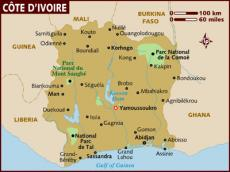 Map of Cote d'Ivoire