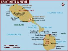 Map of St Kitts and Nevis