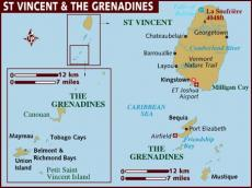 Map of St Vincent and the Grenadines